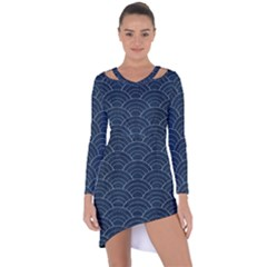 Blue Sashiko Pattern Asymmetric Cut-out Shift Dress by goljakoff