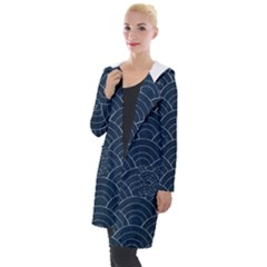 Blue Sashiko Pattern Hooded Pocket Cardigan by goljakoff