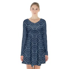 Blue Sashiko Pattern Long Sleeve Velvet V-neck Dress by goljakoff