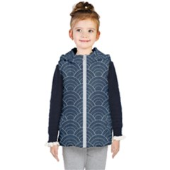 Blue Sashiko Pattern Kids  Hooded Puffer Vest by goljakoff
