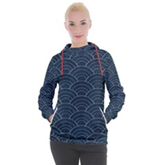 Blue Sashiko Pattern Women s Hooded Pullover by goljakoff