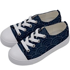 Blue Sashiko Pattern Kids  Low Top Canvas Sneakers by goljakoff