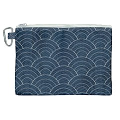 Blue Sashiko Pattern Canvas Cosmetic Bag (xl) by goljakoff