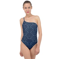Blue Sashiko Pattern Classic One Shoulder Swimsuit by goljakoff