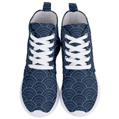 Blue Sashiko Pattern Women s Lightweight High Top Sneakers