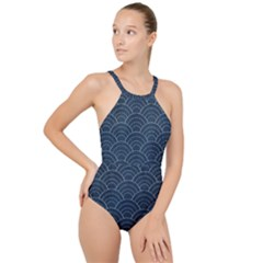 Blue Sashiko Pattern High Neck One Piece Swimsuit by goljakoff