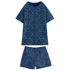 Blue Sashiko Pattern Kids  Swim Tee And Shorts Set by goljakoff