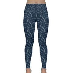 Blue Sashiko Pattern Lightweight Velour Classic Yoga Leggings by goljakoff