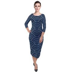 Blue Sashiko Pattern Quarter Sleeve Midi Velour Bodycon Dress by goljakoff