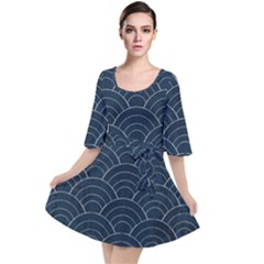 Blue Sashiko Pattern Velour Kimono Dress by goljakoff
