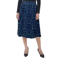 Blue Sashiko Pattern Classic Velour Midi Skirt  by goljakoff