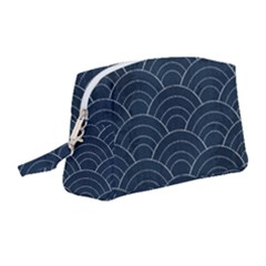 Blue Sashiko Pattern Wristlet Pouch Bag (medium) by goljakoff