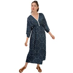 Blue Sashiko Pattern Grecian Style  Maxi Dress by goljakoff