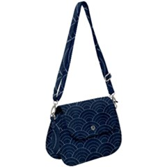 Blue Sashiko Pattern Saddle Handbag by goljakoff