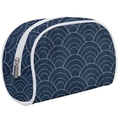 Blue Sashiko Pattern Makeup Case (large) by goljakoff