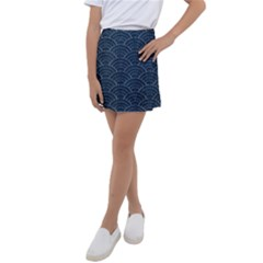 Blue Sashiko Pattern Kids  Tennis Skirt by goljakoff