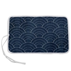 Blue Sashiko Pattern Pen Storage Case (m) by goljakoff