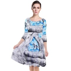 Hands Horse Hand Dream Quarter Sleeve Waist Band Dress