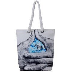 Hands Horse Hand Dream Full Print Rope Handle Tote (small)
