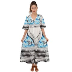 Hands Horse Hand Dream Kimono Sleeve Boho Dress