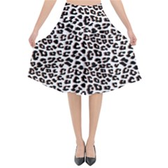 3d Leopard Print Black Brown White Flared Midi Skirt