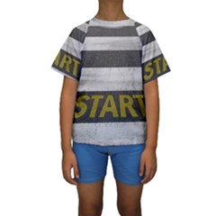 Asphalt Begin Bright Expectation Kids  Short Sleeve Swimwear