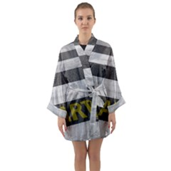 Asphalt Begin Bright Expectation Long Sleeve Satin Kimono