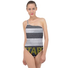Asphalt Begin Bright Expectation Classic One Shoulder Swimsuit