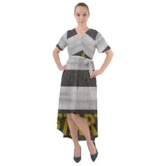 Asphalt Begin Bright Expectation Front Wrap High Low Dress