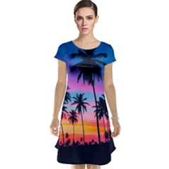 Sunset Palms Cap Sleeve Nightdress by goljakoff