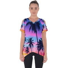 Sunset Palms Cut Out Side Drop Tee by goljakoff