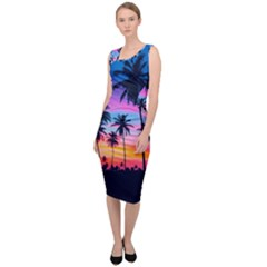 Sunset Palms Sleeveless Pencil Dress by goljakoff