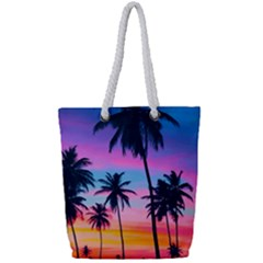 Sunset Palms Full Print Rope Handle Tote (small) by goljakoff