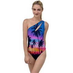 Sunset Palms To One Side Swimsuit by goljakoff