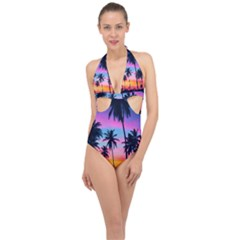 Sunset Palms Halter Front Plunge Swimsuit by goljakoff