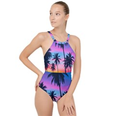 Sunset Palms High Neck One Piece Swimsuit by goljakoff