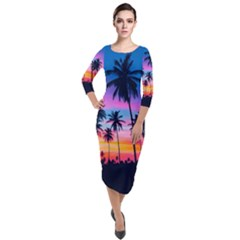Sunset Palms Quarter Sleeve Midi Velour Bodycon Dress by goljakoff