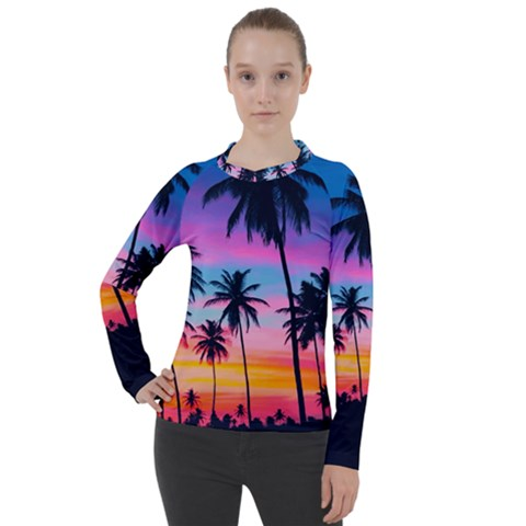 Sunset Palms Women s Pique Long Sleeve Tee by goljakoff