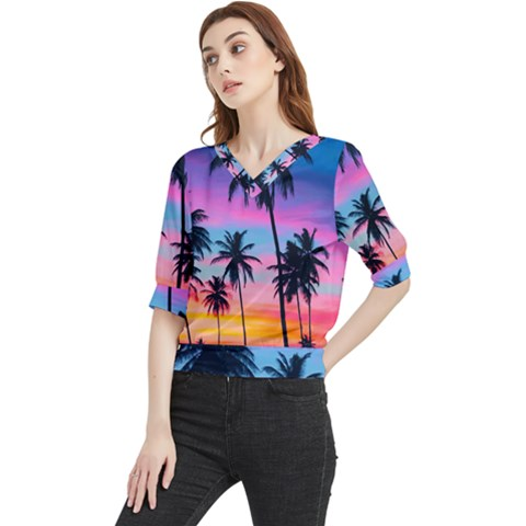 Sunset Palms Quarter Sleeve Blouse by goljakoff