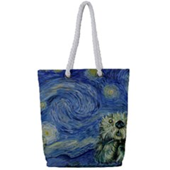 Starry Monterey Night - Sea Otters Full Print Rope Handle Tote (small)