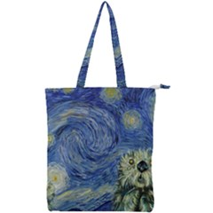 Starry Monterey Night - Sea Otters Double Zip Up Tote Bag
