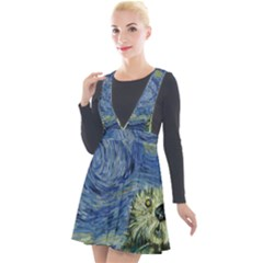 Starry Monterey Night - Sea Otters Plunge Pinafore Velour Dress