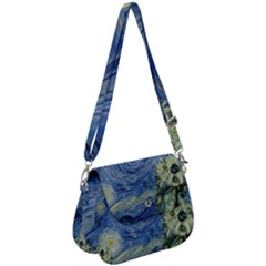 Starry Monterey Night - Sea Otters Saddle Handbag by pino