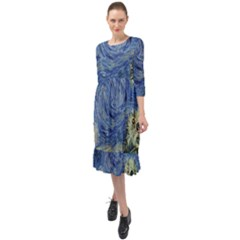 Starry Monterey Night - Sea Otters Ruffle End Midi Chiffon Dress