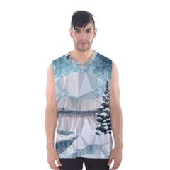 Winter Landscape Low Poly Polygons Men s Basketball Tank Top