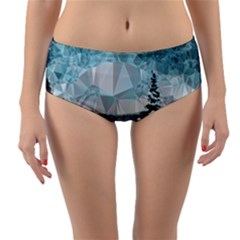 Winter Landscape Low Poly Polygons Reversible Mid-waist Bikini Bottoms
