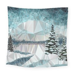 Winter Landscape Low Poly Polygons Square Tapestry (large)