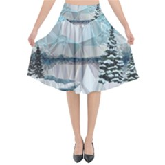 Winter Landscape Low Poly Polygons Flared Midi Skirt