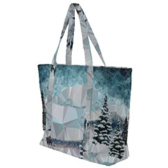 Winter Landscape Low Poly Polygons Zip Up Canvas Bag
