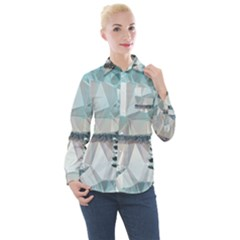 Winter Landscape Low Poly Polygons Women s Long Sleeve Pocket Shirt